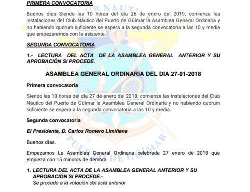 Acta Asamblea General Ordinaria del día 26 de enero de 2019