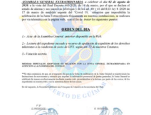 Convocatoria Asamblea General Extraordinaria a celebrar el día 2 de agosto de 2020 (privado socios)