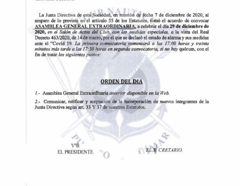 Convocatoria de la Asamblea General Extraordinaria a celebrar el día 29 de diciembre de 2020